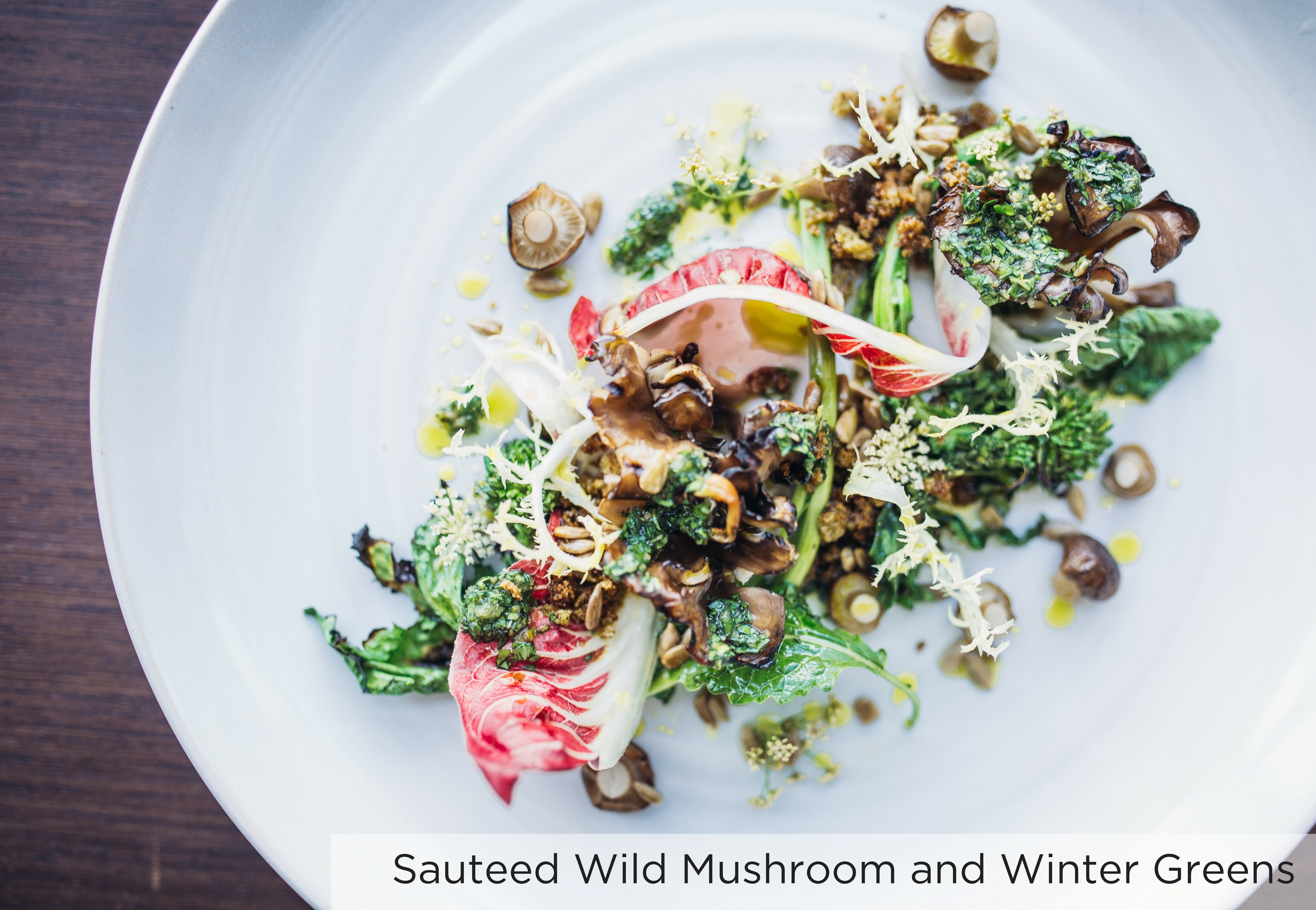 Wolfgang Puck Catering - Sauteed Wild Mushroom and Winter Greens | wolfgangpuck.com/catering